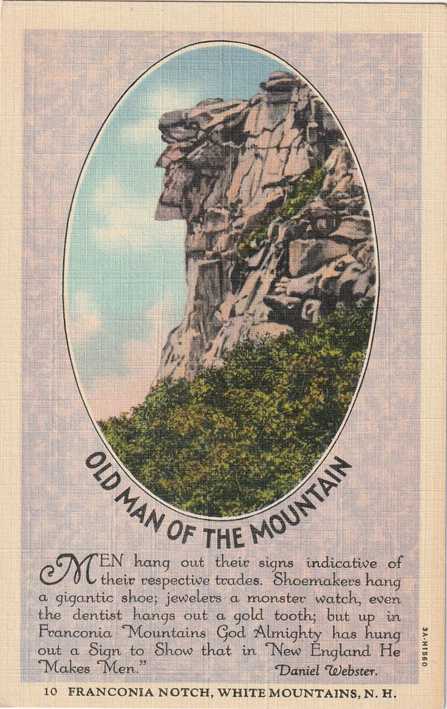 Old Man of the Mountain White Mountain NH Postcard