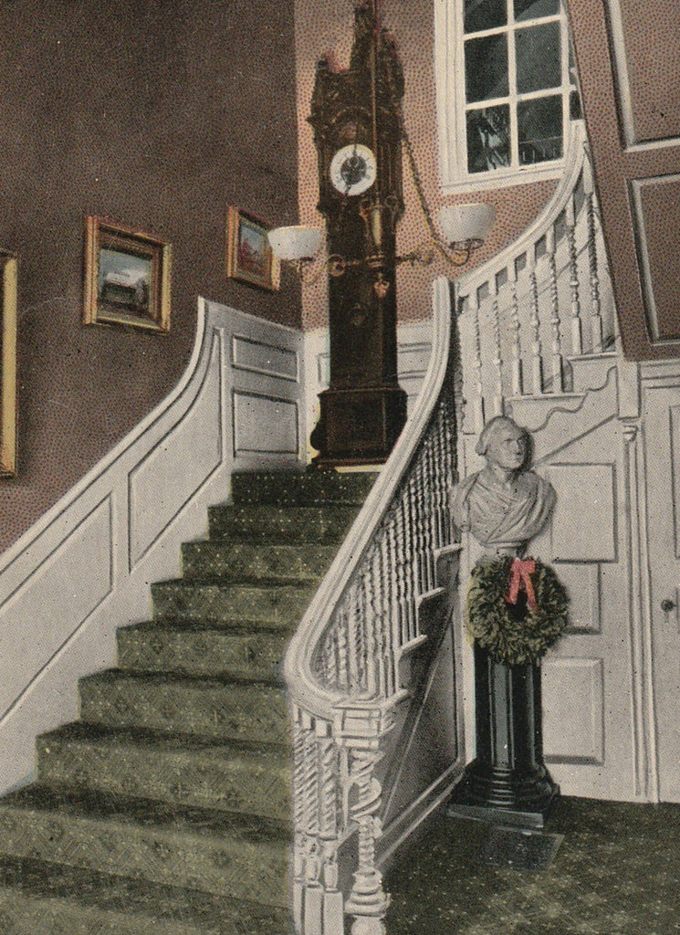 Old Clock On The Stairs Longfellow Postcard Close Up