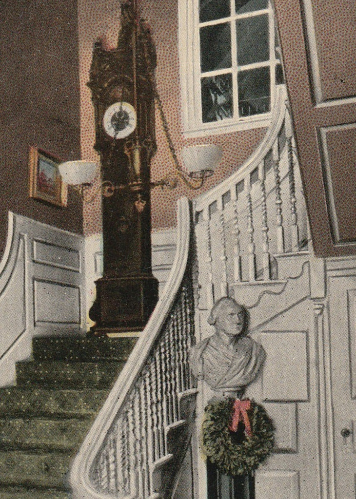 Old Clock On The Stairs Longfellow Postcard Close Up 2