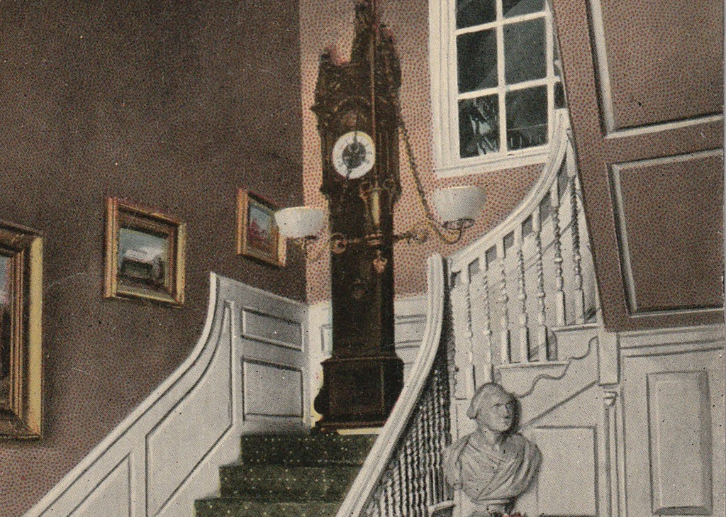 Old Clock On The Stairs Longfellow Postcard Close Up 3