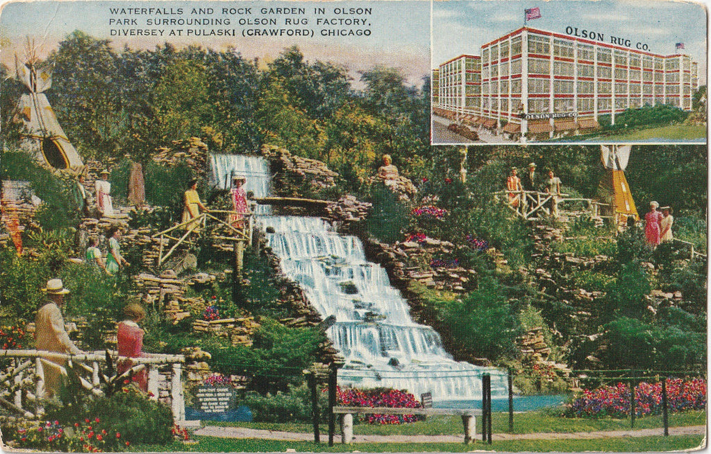 Olson Park Olson Rug Factory Chicago Postcard