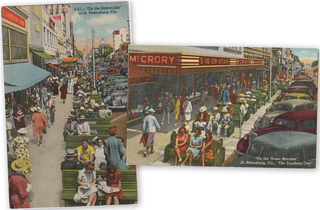 Sidewalks and Benches of St. Petersburg, Florida - SET of 2 - Postcards, c. 1940s