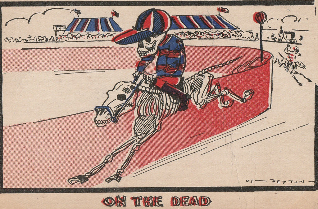 On The Dead Horse Deyton Antique Postcard Close Up