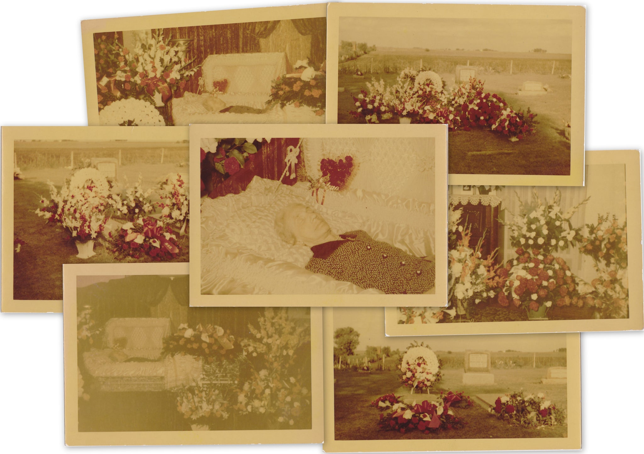Open Casket In Color Set Of 7 Post Mortem Funeral Flowers