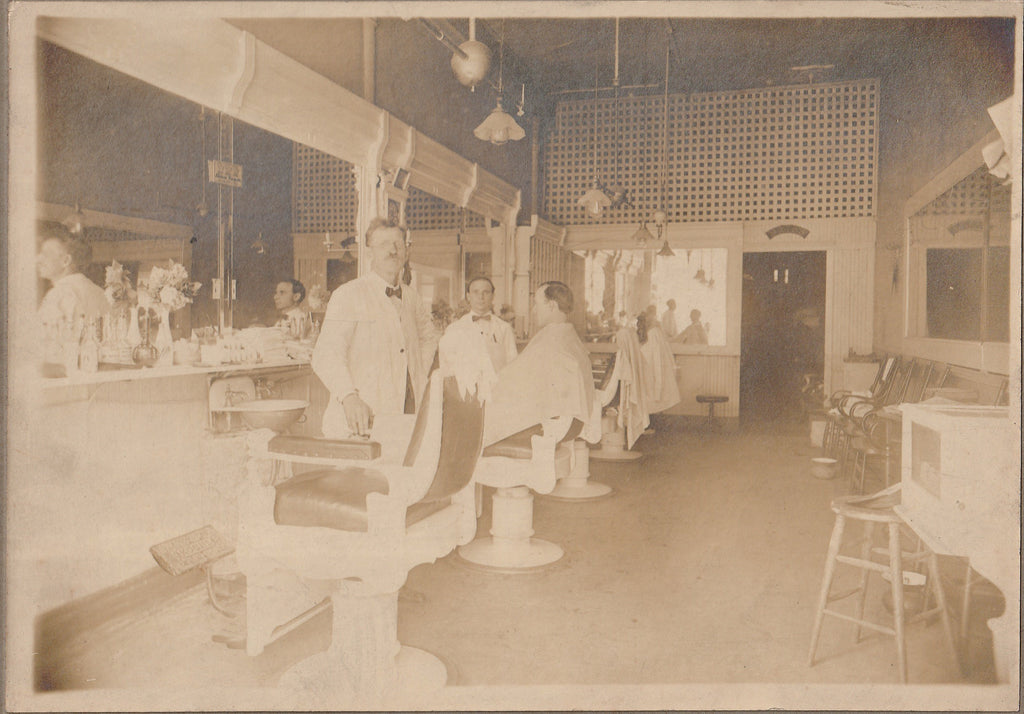 Open Chair at the Barber Shop 1920s Cabinet Photo Close Up