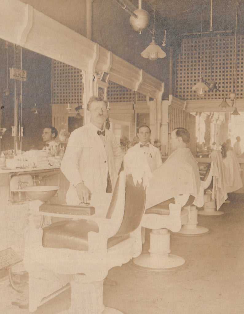 Open Chair at the Barber Shop 1920s Cabinet Photo Close Up 3