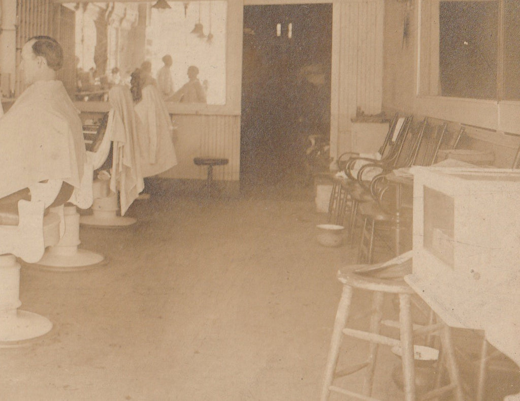 Open Chair at the Barber Shop 1920s Cabinet Photo Close Up 5