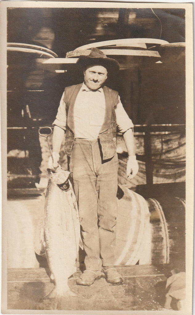 Oregon Fisherman Salmon Antique Photo