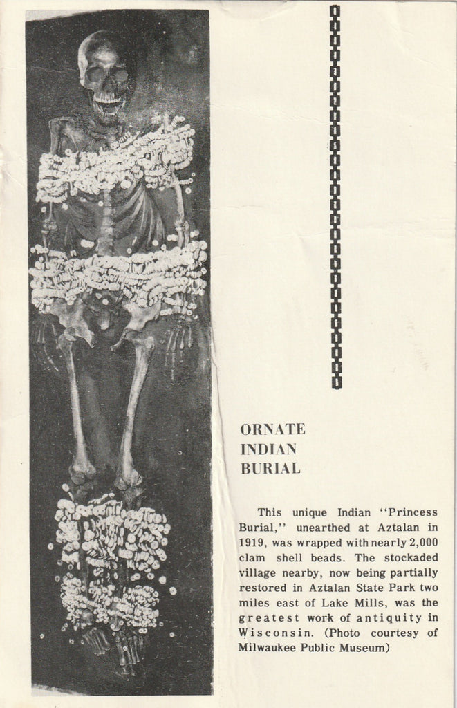 Ornate Indian Burial Aztalan Vintage Postcard