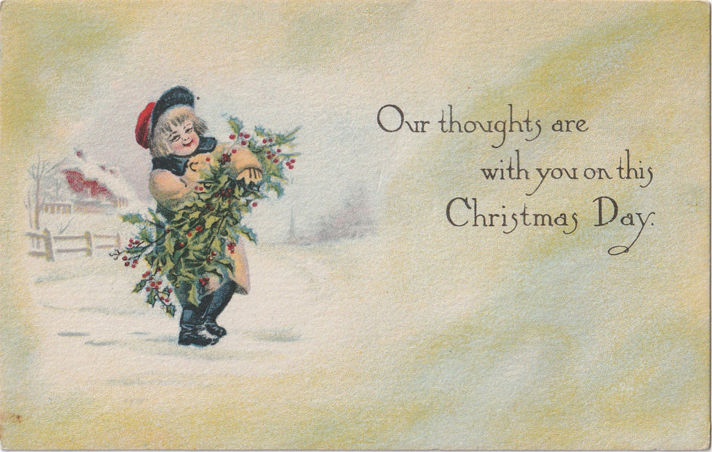 Our Thoughts Are With You This Christmas Antique Postcard