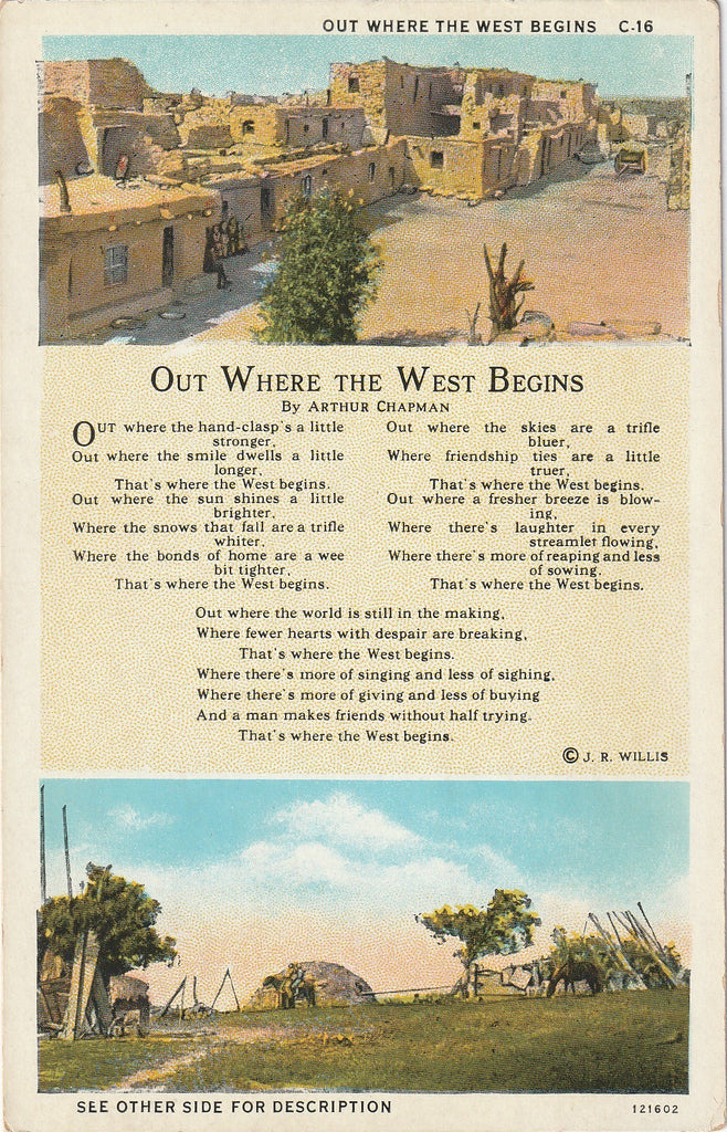 Out Where the West Begins Arthur Chapman Postcard