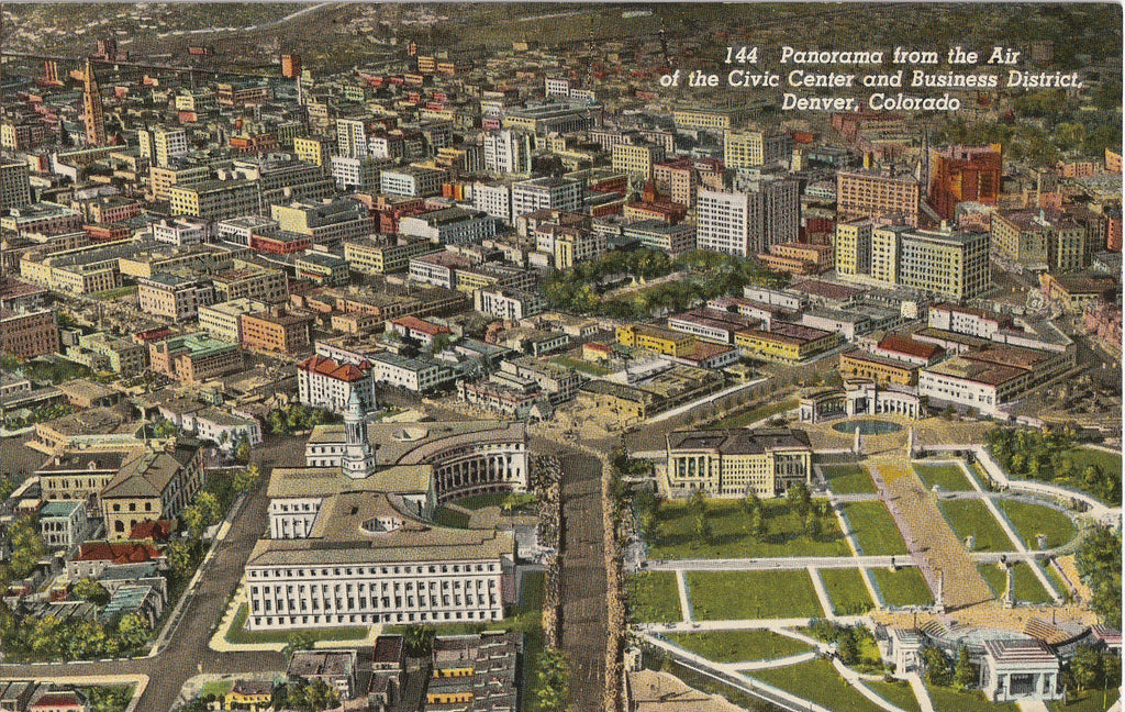 Panorama of Civic Center and Business District Denver Colorado Postcard