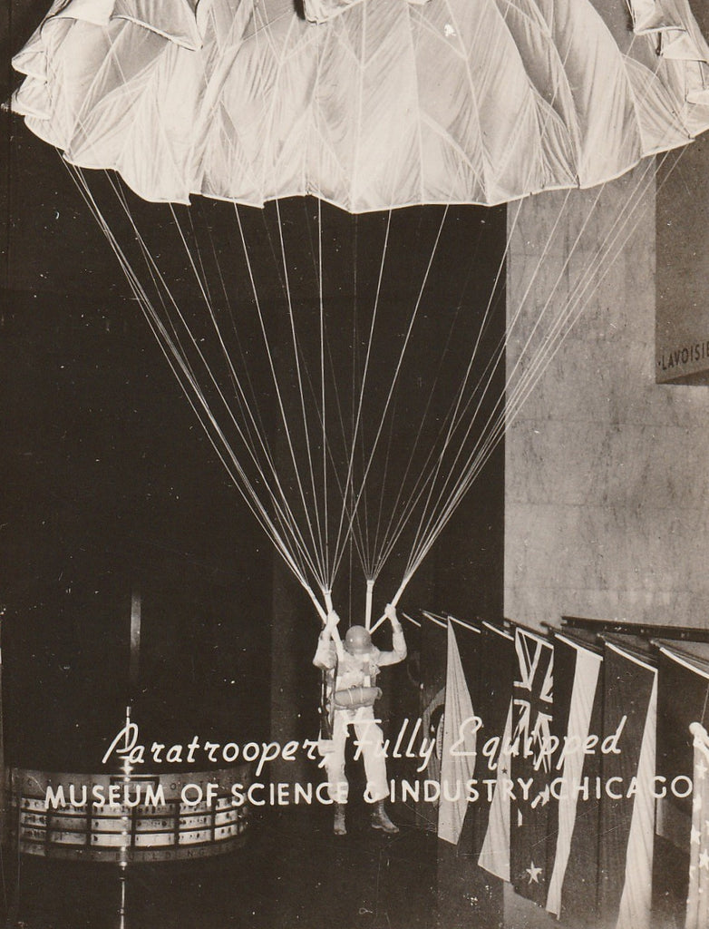 Paratrooper - Museum of Science and Industry - Chicago RPPC, c. 1940s