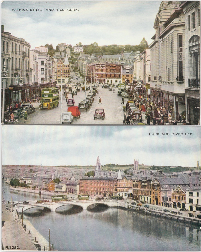 Patrick Street and Hill - River Lee - Cork Ireland Antique Postcards