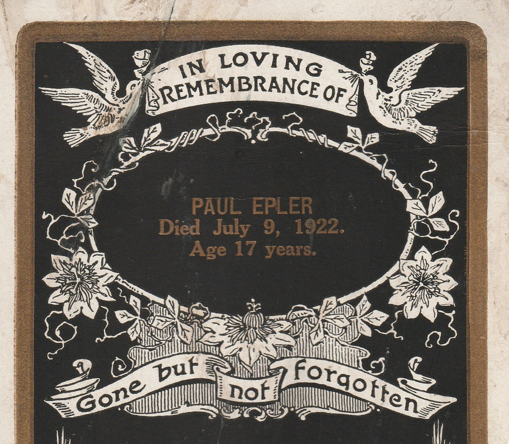 Paul Epler Gone But Not Forgotten Memorial Cabinet Card Close Up