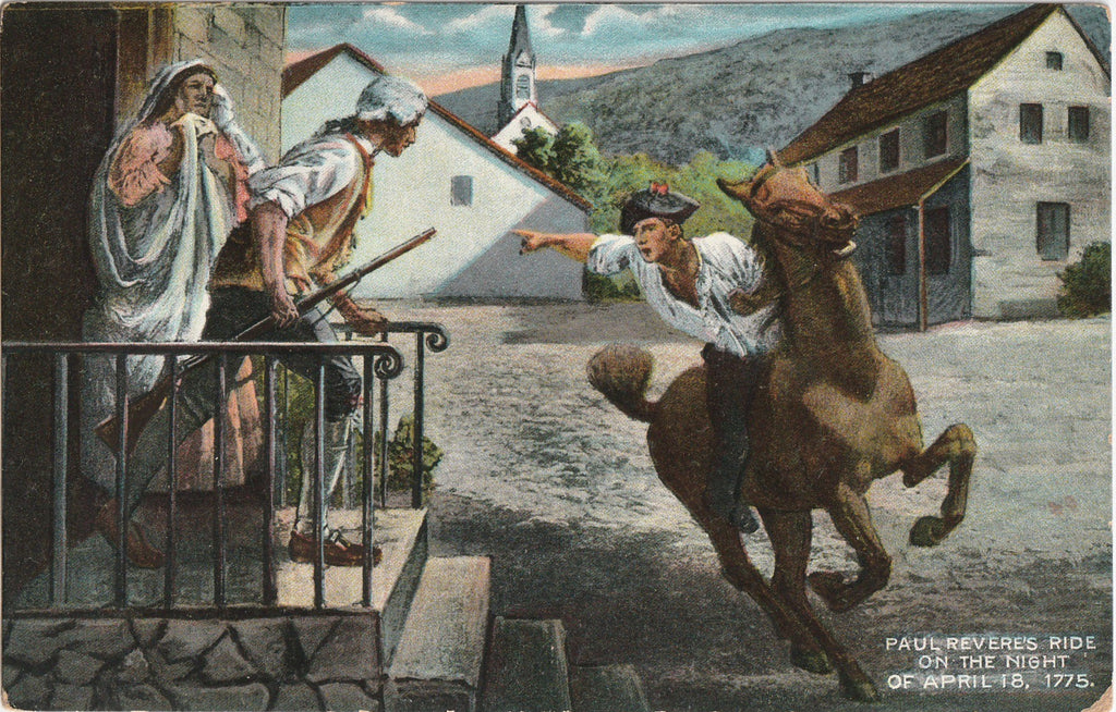 Paul Revere's Ride - April 18, 1775 - Postcard, c. 1920s