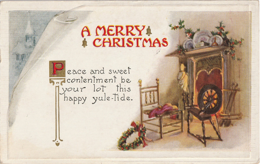 Peace and Contentment Yuletide Postcard