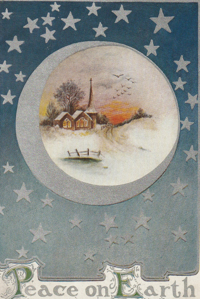 Peace on Earth Silver Stars Postcard Close Up