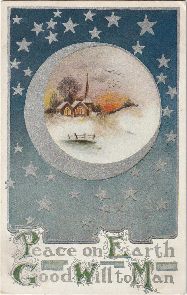 Peace on Earth Silver Stars Postcard