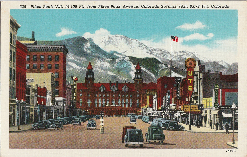 Pikes Peak Avenue Colorado Springs CO Postcard