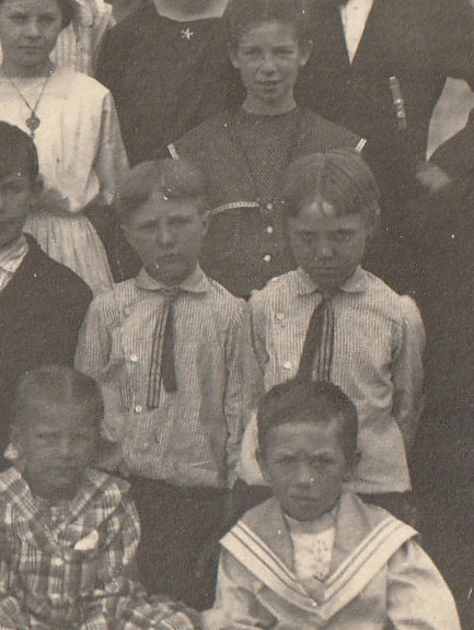 Pleasant Hill Elementary School - Creepy Twins - RPPC, c. 1910s Close Up 2