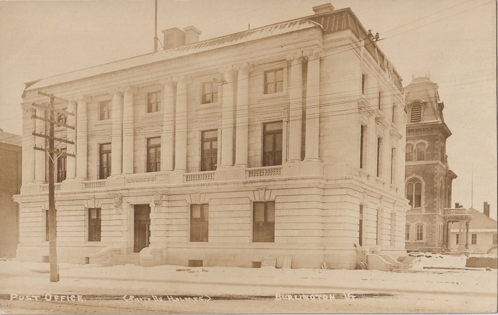 Post Office Burlington VT RPPC Photo