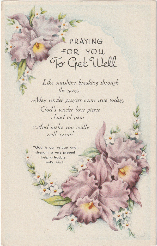 Praying For You To Get Well - Sunshine Series - Postcard, c. 1940s