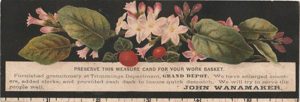 Preserve This Measure Card John Wanamaker Trade Card