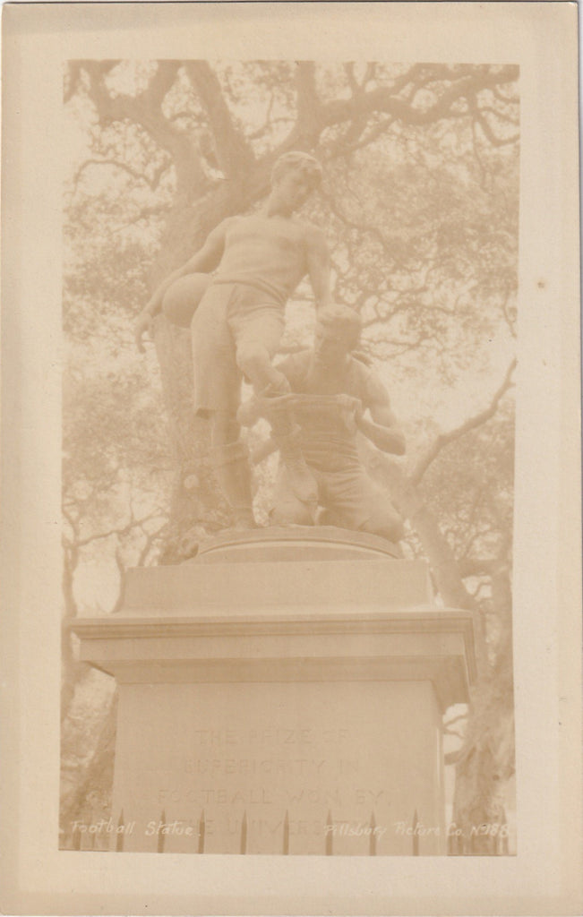 Prize of Superiority Football Statue Berkeley California Antique RPPC