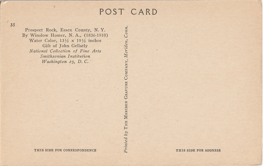 Prospect Rock Winslow Homer Postcard Back