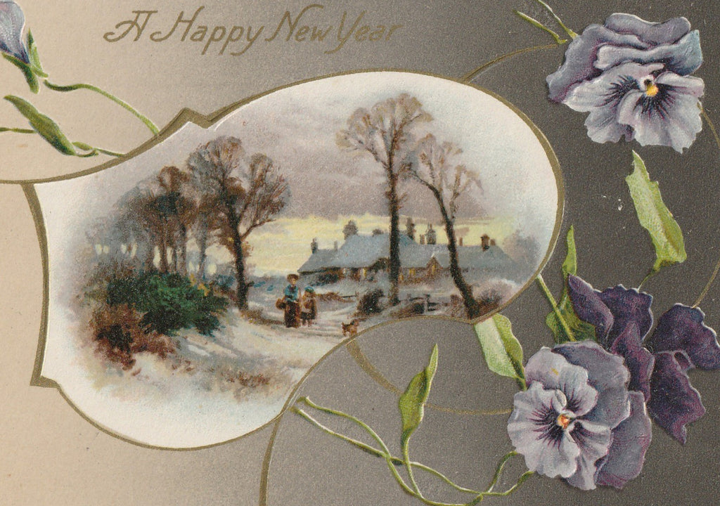 Purple Pansies New Year Antique Postcard Close Up