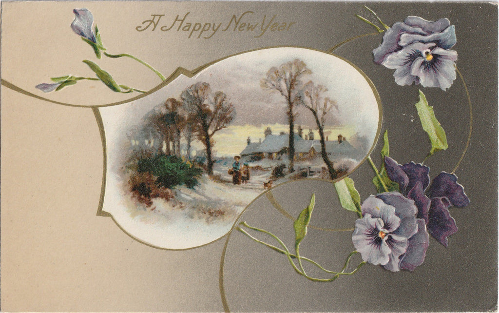 Purple Pansies New Year Antique Postcard
