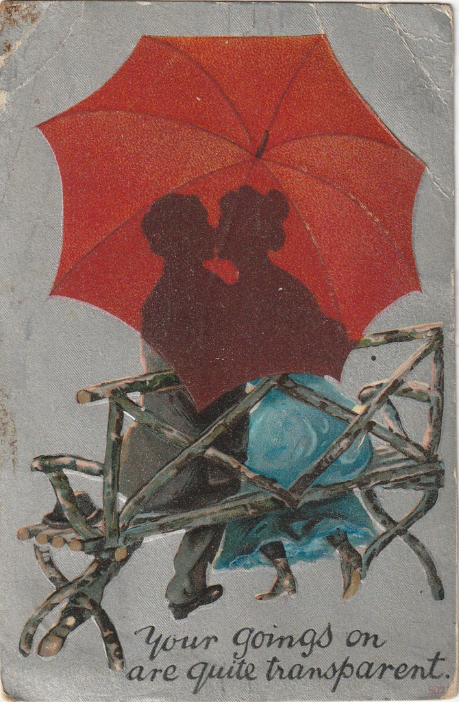 Your Goings On Are Quite Transparent Umbrella Antique Postcard