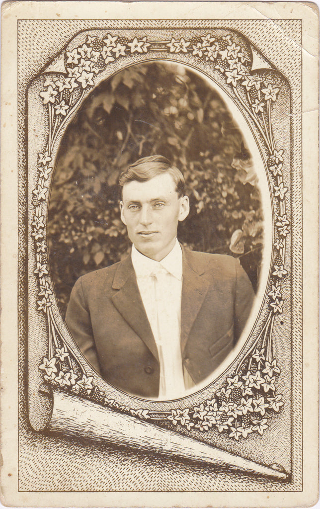 Handsome Edwardian Man Memorial Portrait