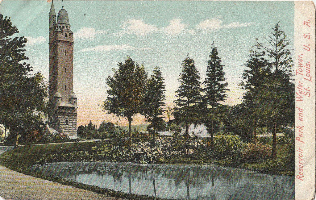 Reservoir Park and Water Tower St. Louis Missouri Postcard