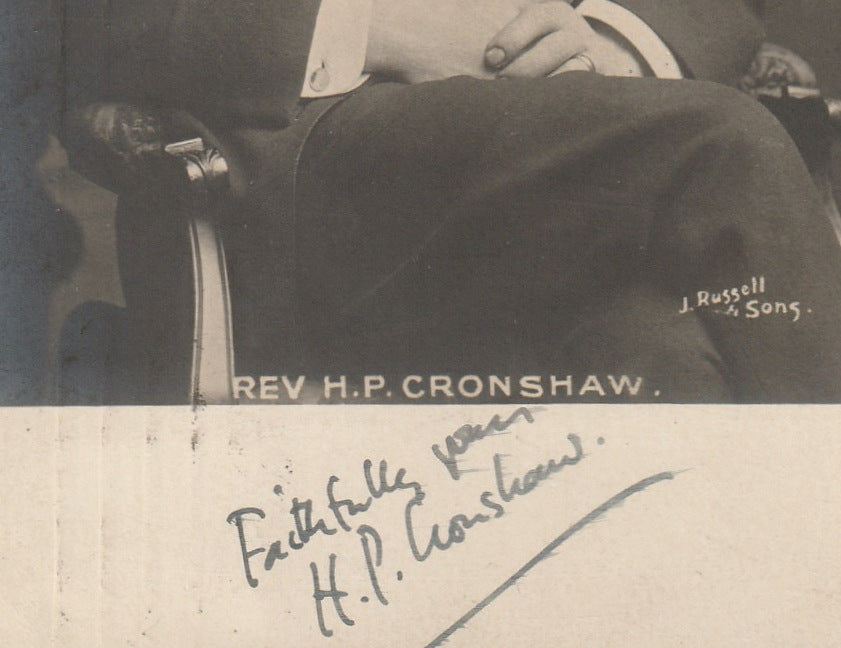 Rev. H. P. Cronshaw Signed RPPC Close Up 2