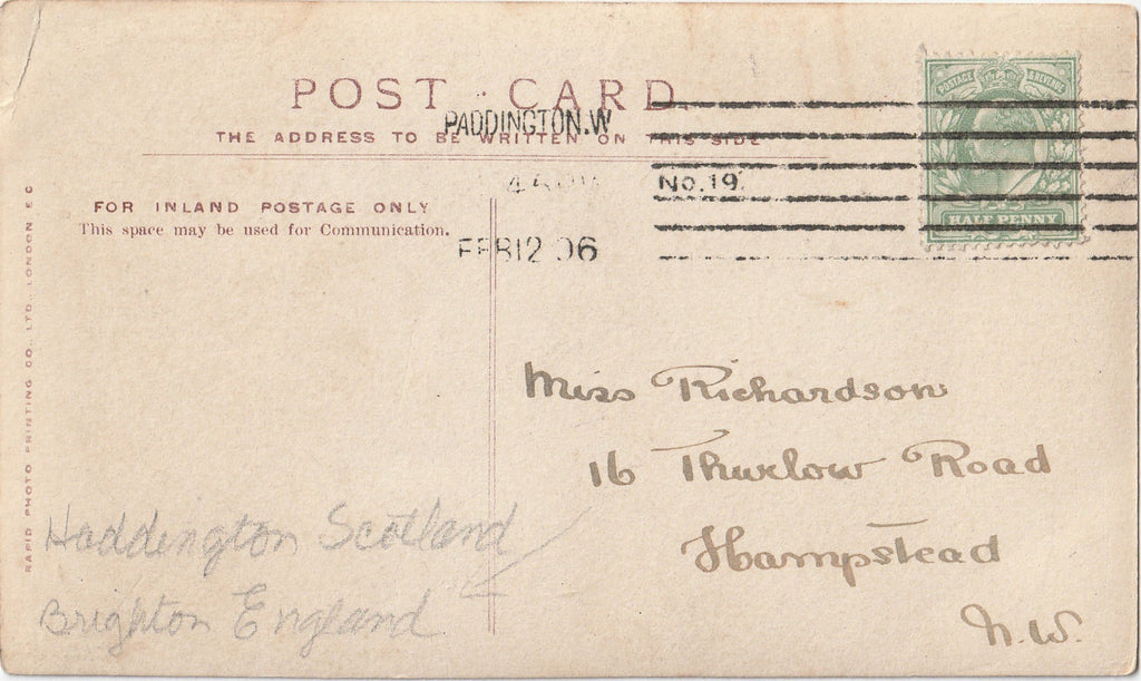 Rev. H. P. Cronshaw Signed RPPC Back