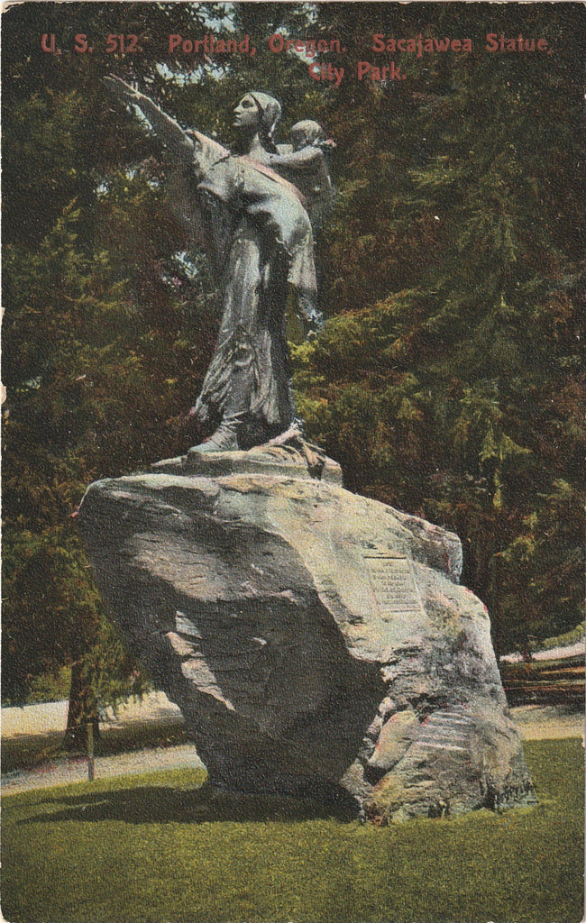 Sacajawea Statue Portland Oregon Antique Postcard