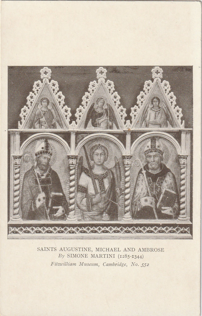Saints Augustine Michael and Ambrose Simone Martini Postcard