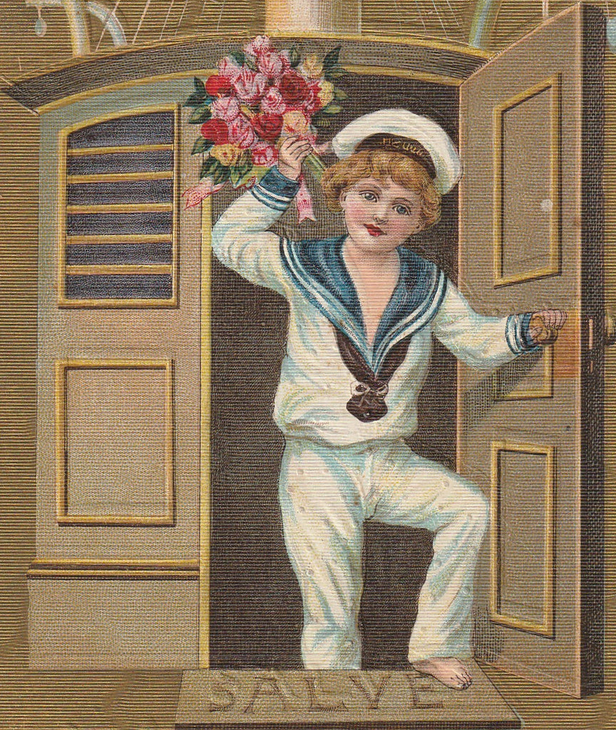 Salve Happy New Year Antique Postcard Close Up