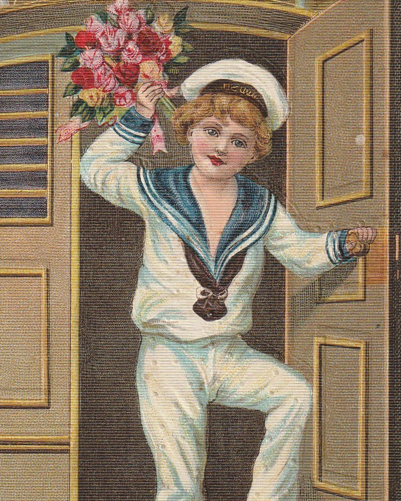 Salve Happy New Year Antique Postcard Close Up 2