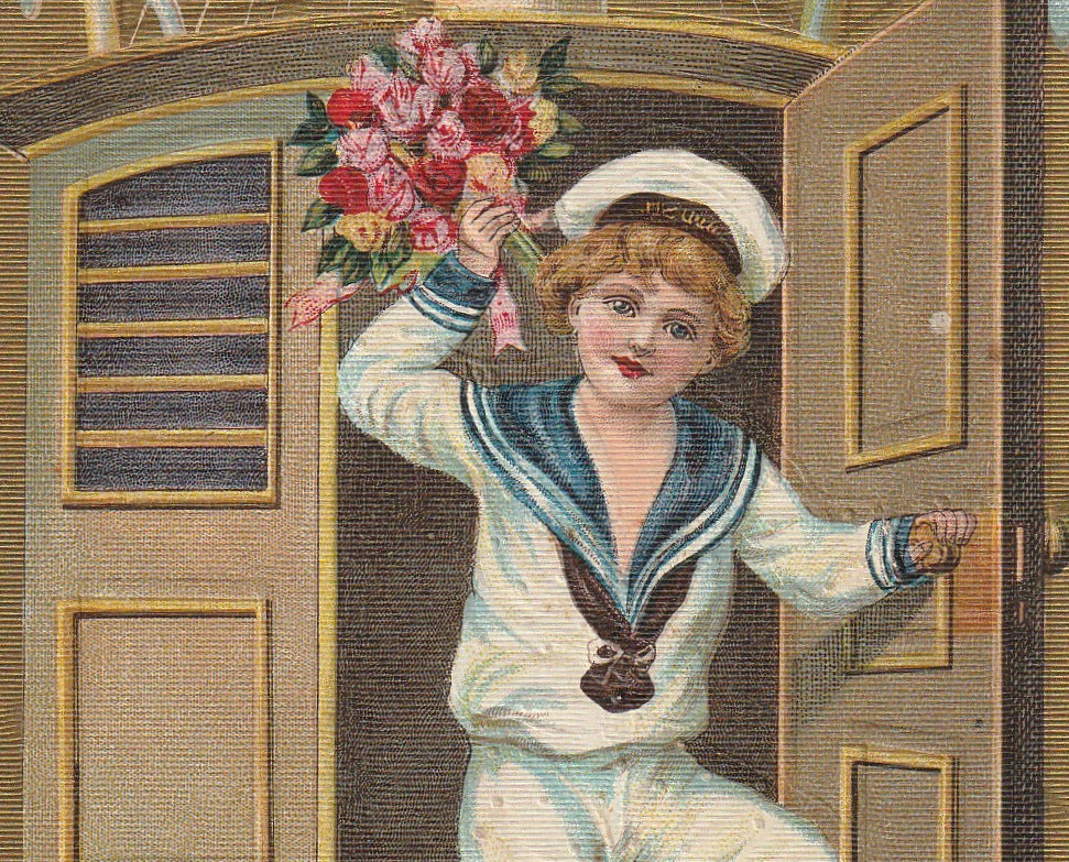 Salve Happy New Year Antique Postcard Close Up 3