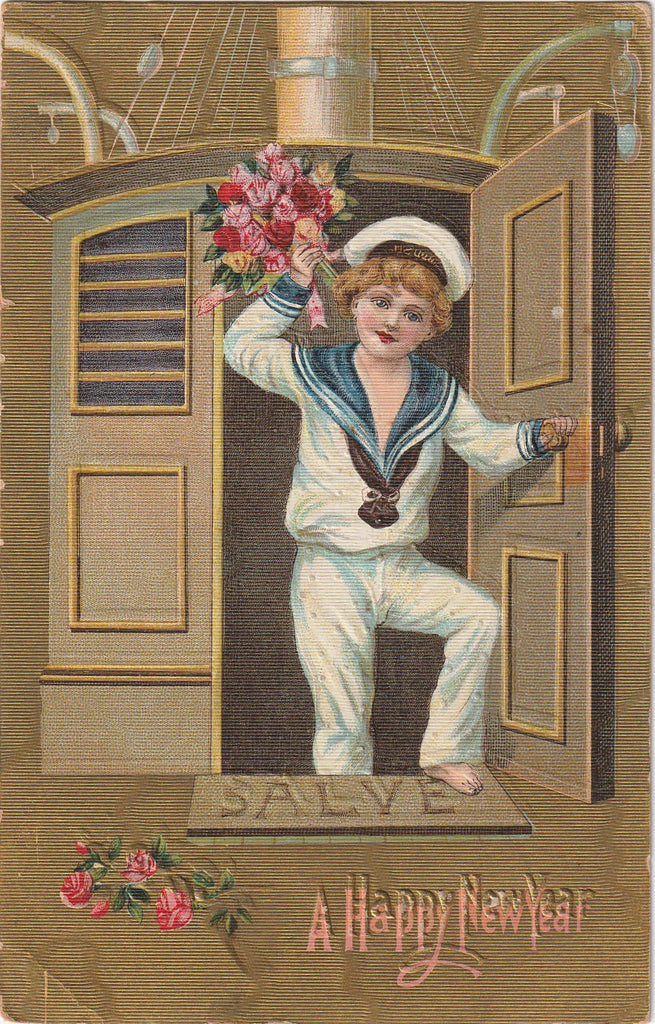 Salve Happy New Year Antique Postcard