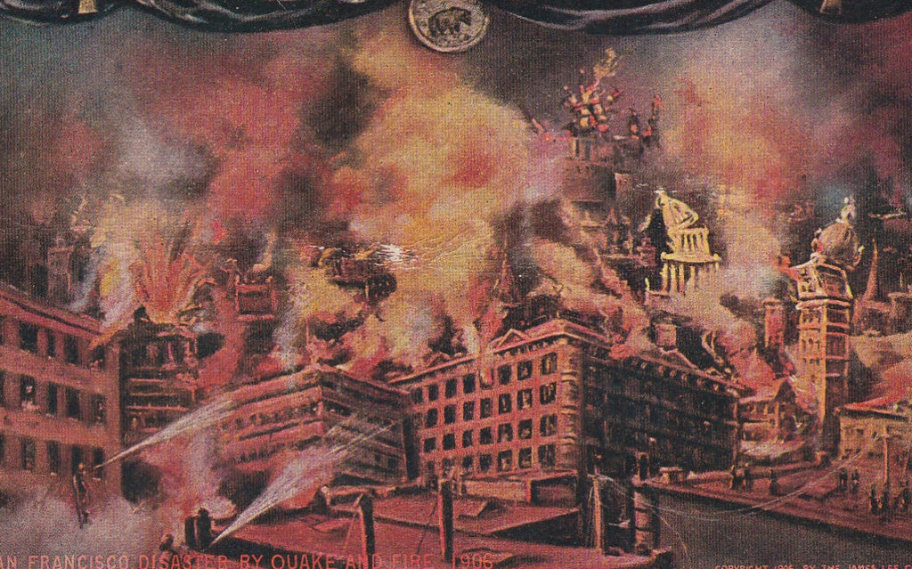 San Francisco Disaster by Earthquake and Fire 1906 Antique Postcard Close up