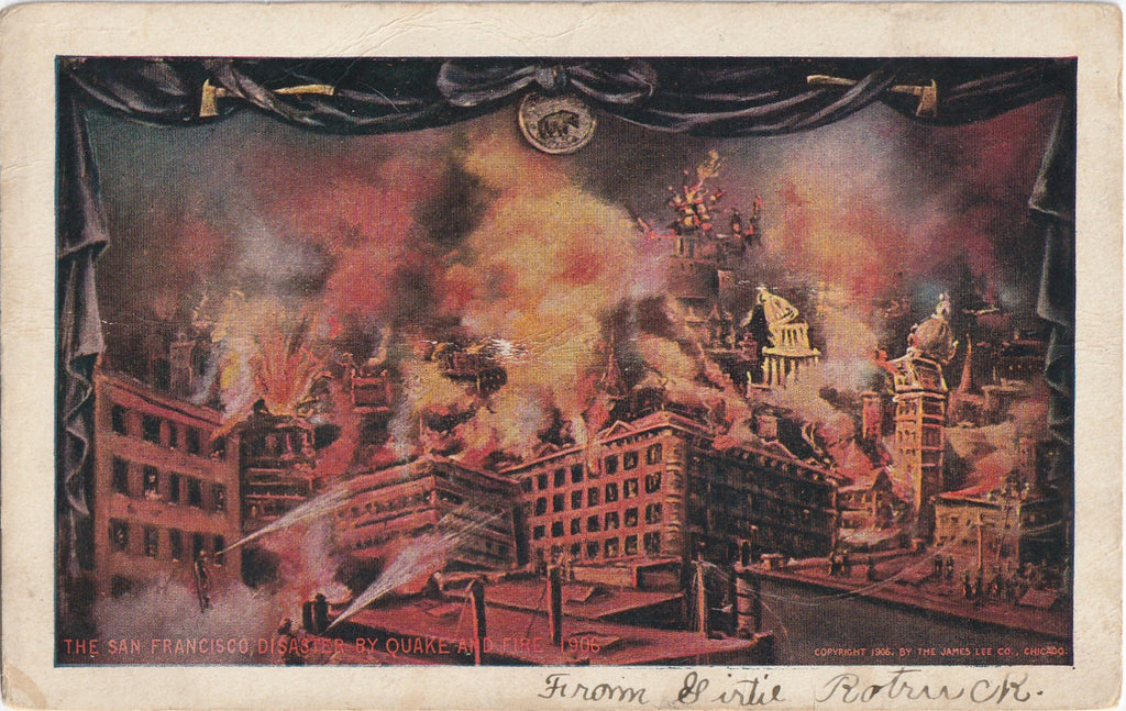 San Francisco Disaster by Earthquake and Fire 1906 Antique Postcard