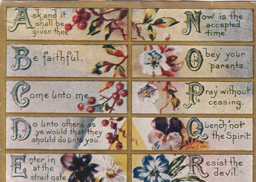 Scripture A to Z Hammond Publishing Co Antique Print Close Up