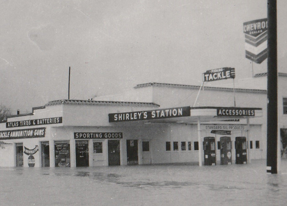 Shirley's Gas Station - Flood in Upper Lake, CA - Snapshot, c. 1950s Close Up