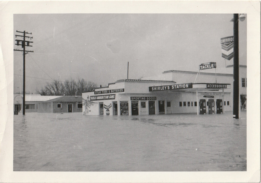 Shirley's Gas Station - Flood in Upper Lake, CA - Snapshot, c. 1950s