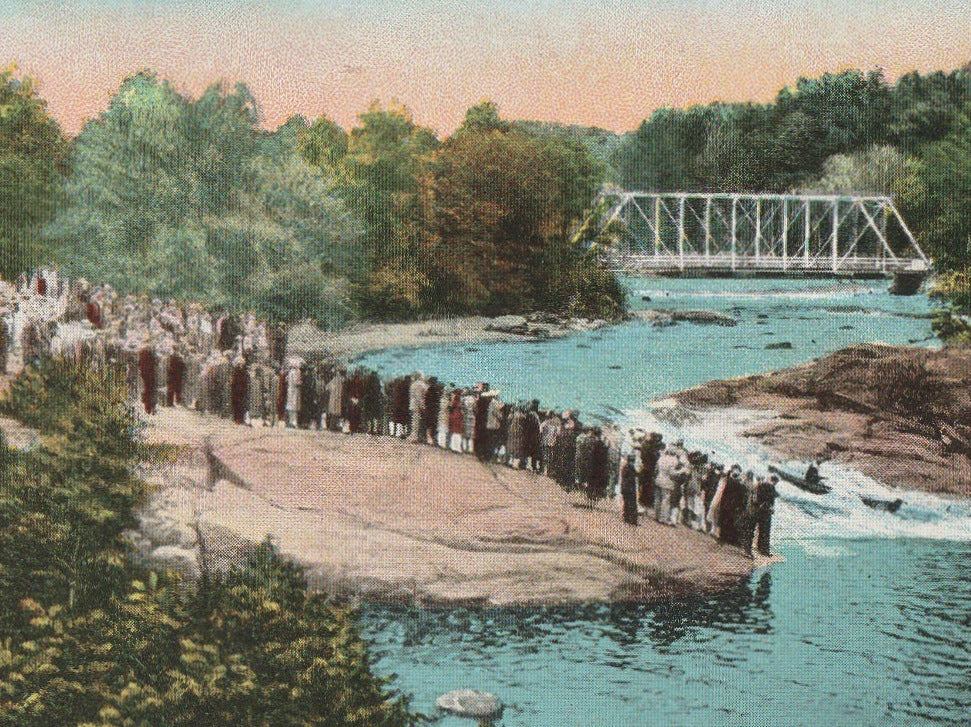 Shooting the Rapids at Keshena Falls Green Bay WI Postcard Close Up