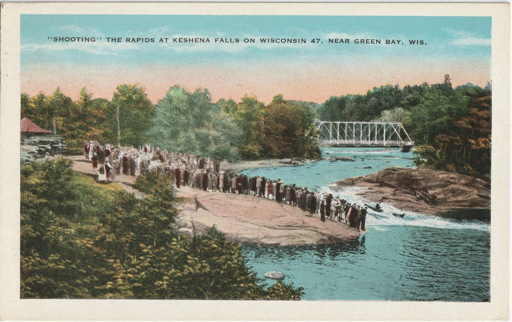 Shooting the Rapids at Keshena Falls Green Bay WI Postcard